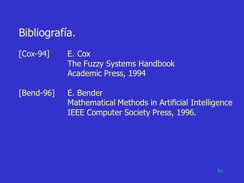 Bibliografía. [Cox-94] E. Cox The Fuzzy Systems Handbook